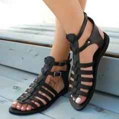Женщины PU Плоский каблук Сандалии На плокой подошве Открытый мыс с пряжка Другие обувь