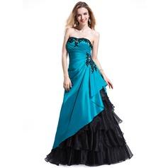 Vestidos princesa/ Formato A Coração Longos Tafetá Organza de Vestido de baile com Bordado Apliques de Renda Babados em cascata