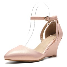 Donna PU Zeppe Sandalo Zeppe con Fibbia scarpe