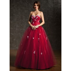 Ball-Gown Sweetheart Floor-Length Tulle Prom Dress With Ruffle Beading Appliques Lace Sequins (018112911)