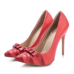 Femmes Vrai cuir Talon stiletto Escarpins Bout fermé avec Bowknot Semelle chaussures