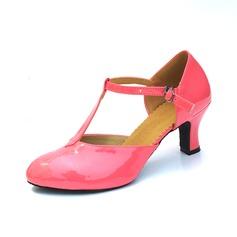De mujer Cuero Tacones Salón Sala de Baile con Tira T Zapatos de danza
