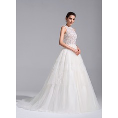 Ball-Gown Scoop Neck Chapel Train Tulle Wedding Dress With Beading Appliques Lace (002071759)