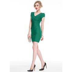 Платье-чехол V-образный Мини-платье Jersey Коктейльные Платье с Рябь