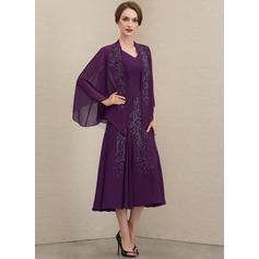 A-Linie V-Ausschnitt Wadenlang Chiffon Kleid für die Brautmutter mit Perlstickerei