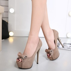 Women's Suede Stiletto Heel Pumps Platform Peep Toe With Bowknot shoes