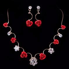 Flor em forma Liga/Resina com Strass Senhoras Conjuntos de jóias