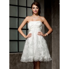 Empire Strapless Knee-Length Lace Wedding Dress With Ruffle Beading