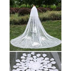 2 couches Bord de coupe Voiles de mariée cathédrale avec Fleur en satin