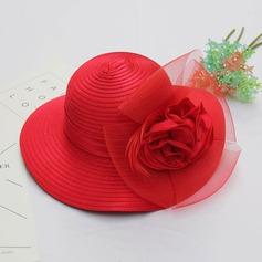 Senhoras Lindo/Elegante Fio rede com Pena/Flor de seda/Tule Chapéu de Coco / Cloche de Chapéu