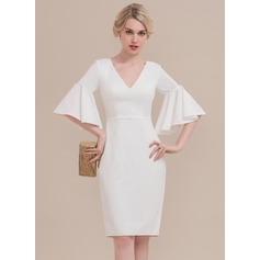 Sheath/Column V-neck Knee-Length Jersey Cocktail Dress With Ruffle
