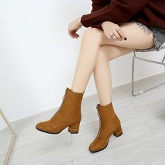 Naisten Mokkanahka Chunky heel Avokkaat Kengät Nilkkurit jossa Vetoketju kengät