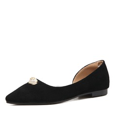 Women's Suede Flats Closed Toe With Imitation Pearl shoes