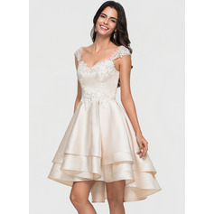 A-Line Sweetheart Asymmetrical Satin Cocktail Dress With Lace Beading Cascading Ruffles