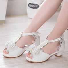 Pigens Kigge Tå patent Leather lav Hæl Flower Girl Shoes med Bowknot