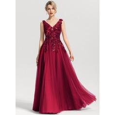 Corte A Decote V Longos Tule Vestido de baile com lantejoulas