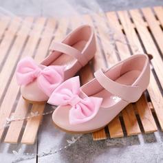 Flicka rund tå Microfiber läder platt Heel Platta Skor / Fritidsskor Flower Girl Shoes med Bowknot Kardborre