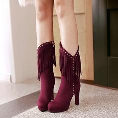 De mujer Ante Tacón ancho Salón Plataforma Botas Botas longitud media con Rivet Cremallera Borla zapatos
