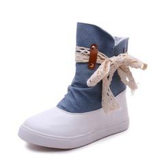 Femmes PU Treillis Talon plat Chaussures plates Bout fermé Bottes Bottes mi-mollets avec Cravate ruban chaussures