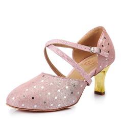 Femmes Vrai cuir Talons Escarpins Salle de bal avec Lanière de cheville Chaussures de danse