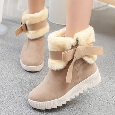 Women's Suede Wedge Heel Boots Mid-Calf Boots With Bowknot shoes (088137080)