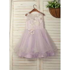 A-Line/Princess Tea-length Flower Girl Dress - Tulle/Lace Sleeveless Scoop Neck With Flower(s) (010130896)