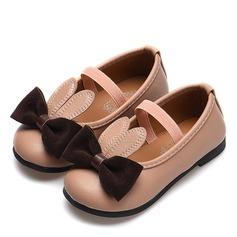 Girl's Ronde neus Closed Toe imitatieleer Flat Heel Flats met strik Elastiek