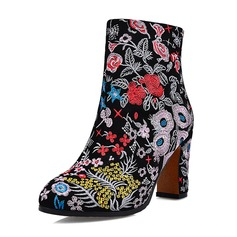Women's Real Leather Chunky Heel Boots Ankle Boots With Flower shoes