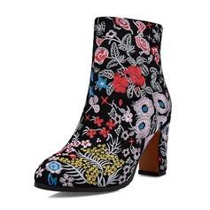 Kvinder Ægte Læder Stor Hæl Støvler Ankelstøvler med Blomst sko
