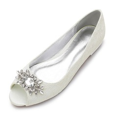 Women's Lace Silk Like Satin Flat Heel Flats Peep Toe With Rhinestone (047147466)