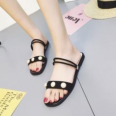 Kvinnor Mocka Flat Heel Sandaler Tofflor med Oäkta Pearl skor