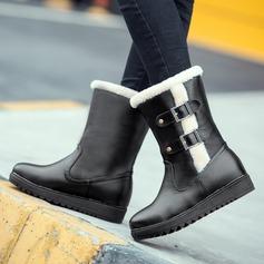 Femmes Similicuir Talon plat Bottes Bottes neige avec Boucle chaussures