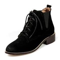 Women's Suede Low Heel Boots Ankle Boots With Lace-up Elastic Band shoes