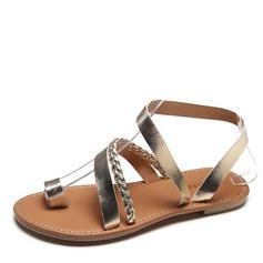 Mulheres Couro Sem salto Sandálias Sem salto Peep toe Sapatos abertos com Alça trançada sapatos