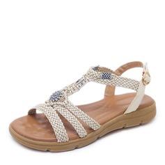 Женщины кожа Вид каблука Сандалии Открытый мыс Босоножки с горный хрусталь пряжка обувь