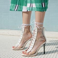 Women's Leatherette PVC Stiletto Heel Sandals Pumps Peep Toe With Lace-up shoes
