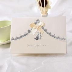 Gelin & Damat Stil Top Katlama Invitation Cards Ile Saten Kurdele (114032370)