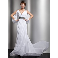 A-Line/Princess V-neck Chapel Train Chiffon Wedding Dress With Ruffle Beading