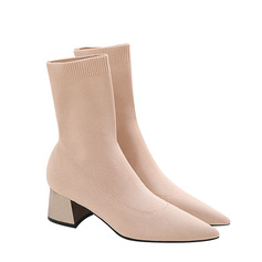 Women's Cloth Low Heel Boots Closed Toe Pumps