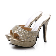Femmes Similicuir Pailletes scintillantes Talon stiletto Sandales Escarpins avec Cristal chaussures