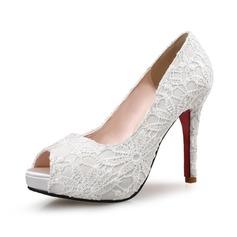 Mulheres Renda Salto agulha Bombas Plataforma Peep toe com Laço costurado sapatos