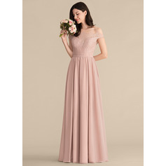 A-Line/Princess Off-the-Shoulder Floor-Length Chiffon Lace Bridesmaid Dress (007165839)