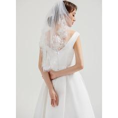 1 couche Bord en dentelle Voile de mariée longueur coude