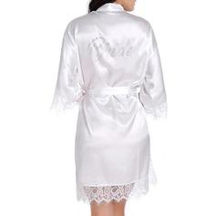 Brud Satäng Spets med Kort Satin & spetsrockar Rhinestone kläder