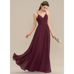 A-Line V-neck Floor-Length Chiffon Lace Bridesmaid Dress With Ruffle (007165848)