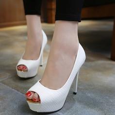 Women's Leatherette Stiletto Heel Pumps Platform With Jewelry Heel shoes