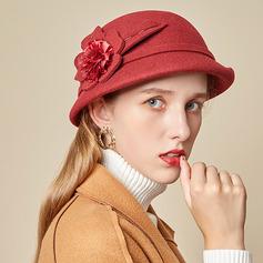 Ladies ' Glamourøse/Charmen/Romantisk Uld med Silke Blomst Bowler / Cloche Hat