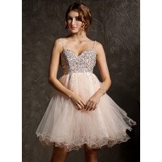 Empire Sweetheart Knee-Length Tulle Prom Dress With Beading Sequins