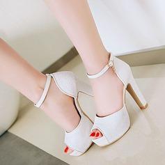 Frauen Kunstleder Stämmiger Absatz Sandalen Absatzschuhe Plateauschuh mit Pailletten Schuhe