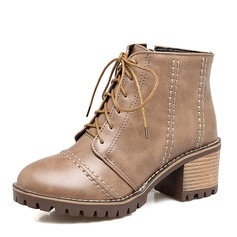 Women's Leatherette Chunky Heel Boots Ankle Boots Martin Boots With Zipper Lace-up shoes